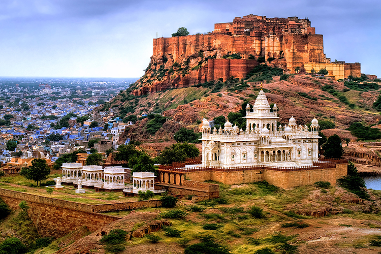 Mehrangharh Fort and Jaswant Thada mausoleum in the Blue city Jodhpur, Rajasthan, India